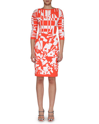 Boat-Neck Patterned Fitted Dress