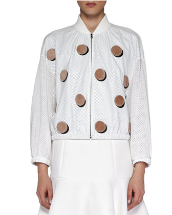 Shearling Dotted Perforated Baseball Jacket, White