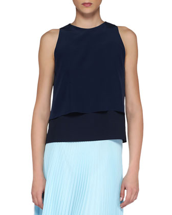 Tiered Crepe/Georgette Sleeveless Top