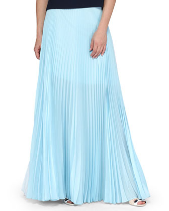 Tiered Knit/Georgette Sleeveless Top & Pleated Chiffon Two-Tone Maxi Skirt