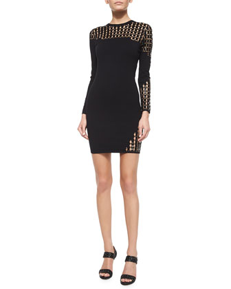 Asymmetric Jeweled Mesh Sheath Dress
