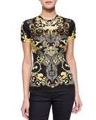 Scroll-Print Short-Sleeve T-Shirt, Black/Gold