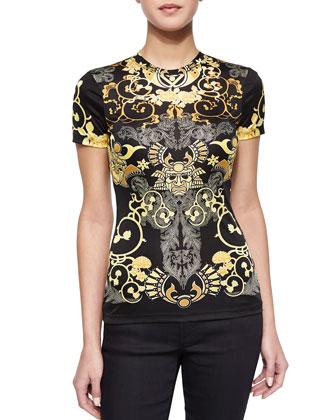 Scroll-Print Short-Sleeve T-Shirt, Black/Gold