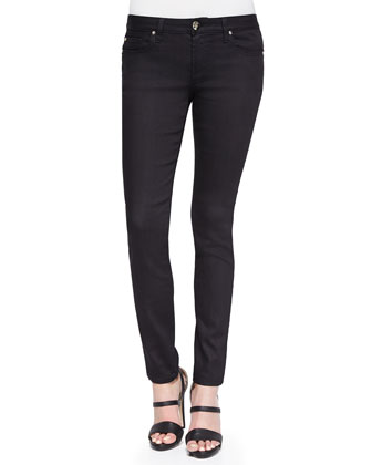 Studded Back-Pocket Skinny Jeans, Black