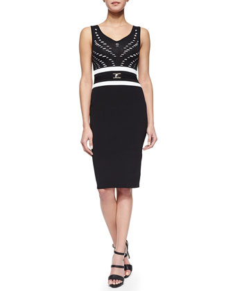 Slashed Contrast Belted Sheath Dress, Black/White