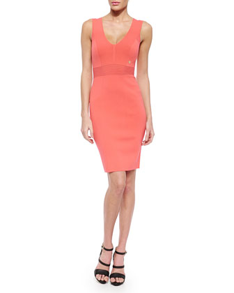 Sheath Dress with Ribbed-Knit Detail