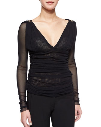 Long-Sleeve Ruched Mesh Top, Black