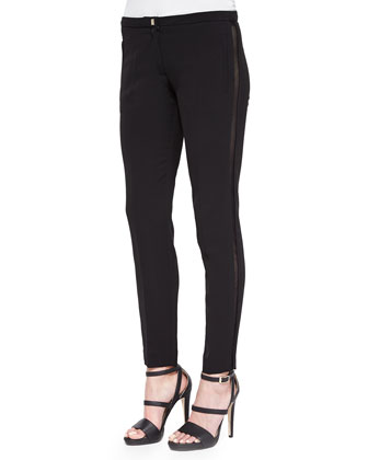 Mesh Side Stripe Slim Pants, Black