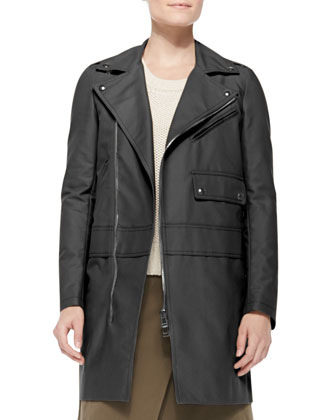 Asymmetric Zip Cotton Coat