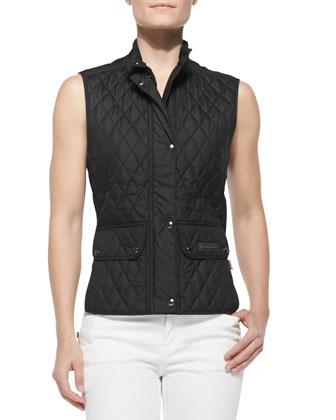 Lightweight Quilted Cutaway-Hem Vest & Zip-Pocket Skinny Jeans