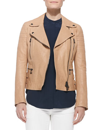 Classic Leather Moto Jacket, Khaki
