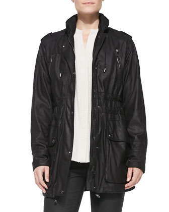 Leather Toggle-Hem Anorak Jacket