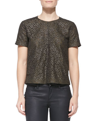 Short-Sleeve Coated Lace Top