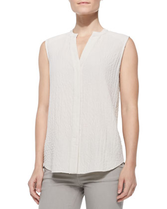 Lightweight Quilted Cutaway-Hem Vest, Sleeveless Hammered-Texture Blouse & ...