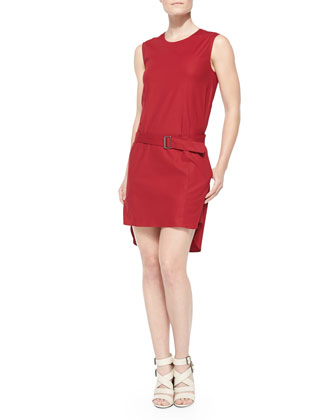 Belted Drop-Waist High-Low Dress, Red