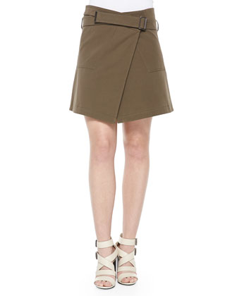 Asymmetric Zip Cotton Coat, Shaker-Knit Cotton Sweater & Gabardine Belted ...