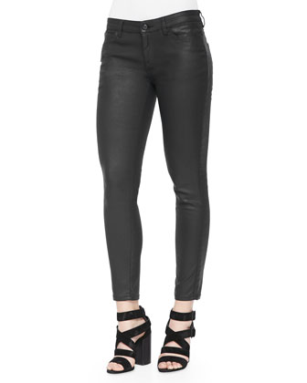 Coated Zip-Pocket Skinny Jeans, Black