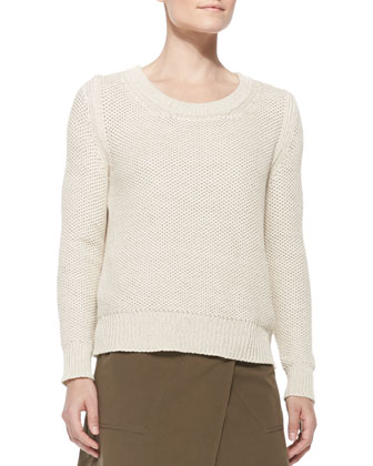 Shaker-Knit Cotton Sweater, Open Off White