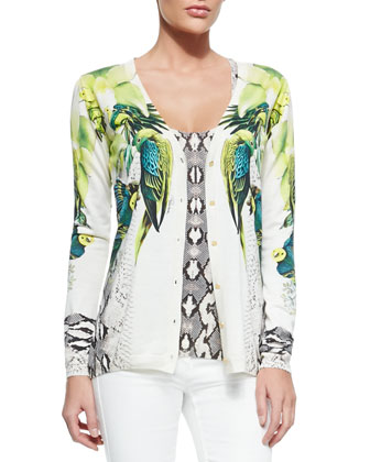 St. Barth Printed Silk/Cotton Cardigan