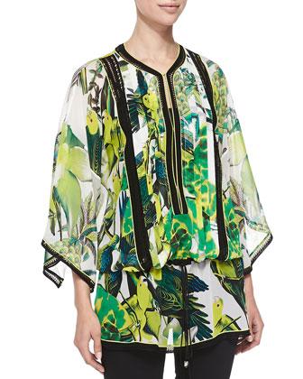 Kimono-Sleeve St. Barths Printed Tunic