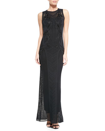 Paneled-Knit Bead-Embroidered Gown, Black
