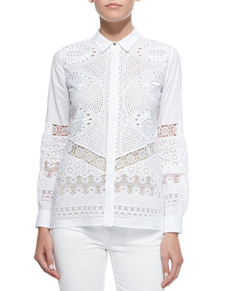 Eyelet Voile Button-Front Blouse, White