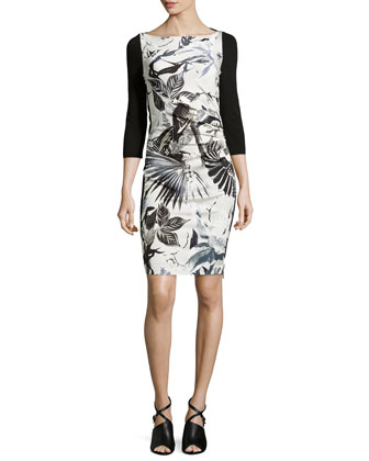 Floral Foil Print Sheath Dress, White/Black