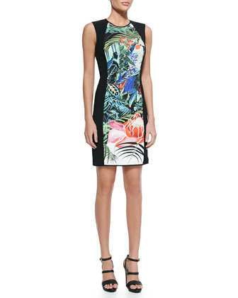 Mustique-Print Jewel-Neck Sheath Dress, Black