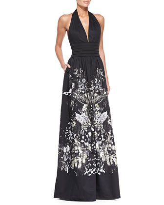 Bonnard Foil-Print Cotton Halter Gown