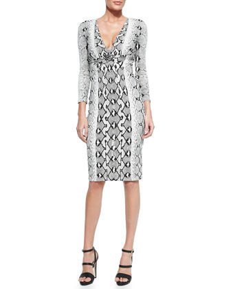 Gathered Python-Print Sheath Dress, Black/White