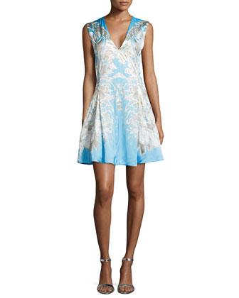 Bonnard Floral Foil-Print A-Line Dress, Azzurro