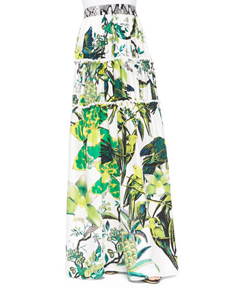 St. Barth-Print Tiered Full Skirt, Verde Lime