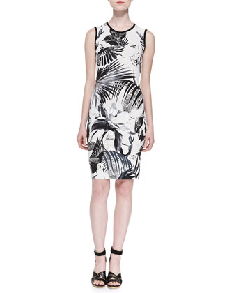 Alize-Print Jewel-Neck Sheath Dress, Black/White/Silver Foil