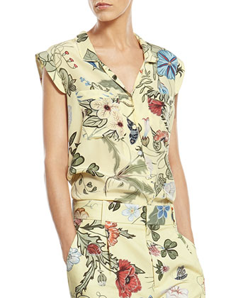 Flora Knight Print Silk Shirt