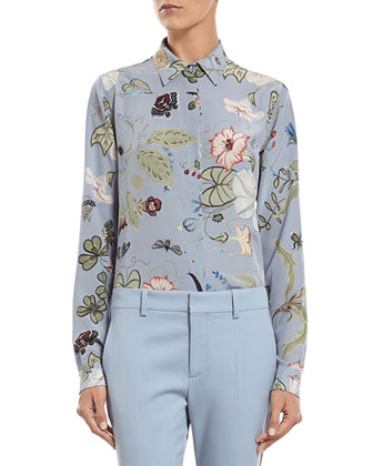 Blue Silk Wool Stretch Drill Jacket, Flora Knight Print Silk Straight Shirt ...