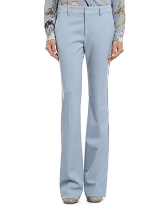 Blue Silk Wool Stretch Drill 60's Flare Pant