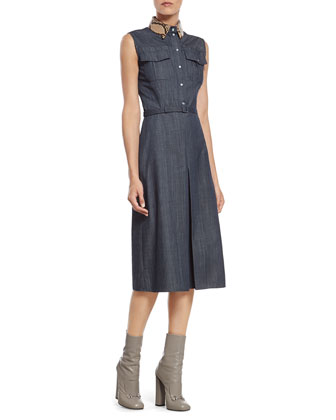 Denim Dress with Python Collar