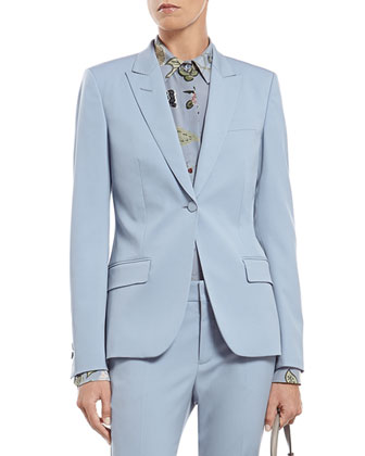 Blue Silk Wool Stretch Drill Jacket