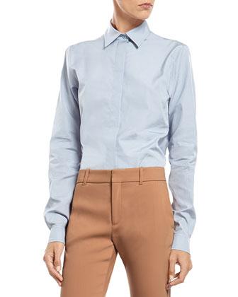 White Wool Peacoat, Striped Knit Cotton Sweater, Blue Cotton Poplin ...
