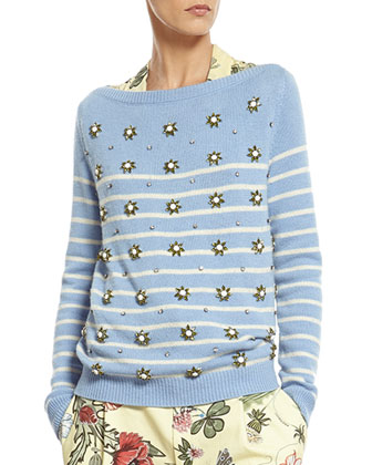 Striped Cashmere Sweater with Crystal Embroidery, Flora Knight Print Silk ...