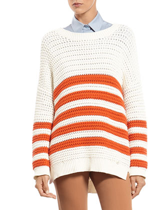 Striped Knit Cotton Sweater