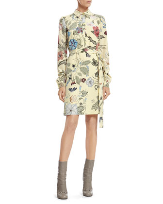 Flora Knight Print Silk Shirtdress