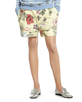 Flora Knight Print Cotton Canvas Short