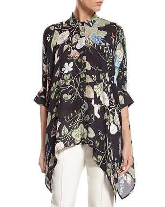 Flora Knight Print Silk Cape Shirt & White Wool 60's Flare Pant ...