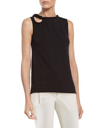 Black Stretch Viscose Top with Knot Detail & Black Stretch Cotton Skinny ...