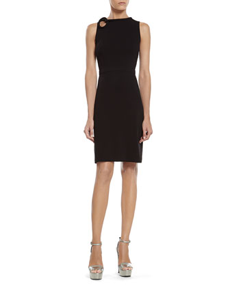 Black Stretch Viscose Dress with Knot Detail