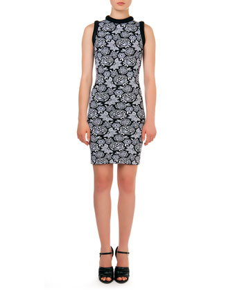 Sleeveless Floral-Pattern Intarsia Sheath Dress