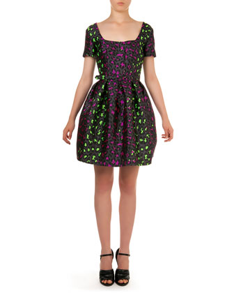 Neon Leopard-Print Jacquard Dress, Gray/Multi