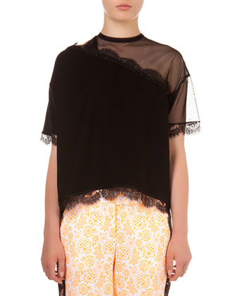 Lace-Trimmed Blouse with Sheer Yoke & Floral Printed Pants with Side Lace ...