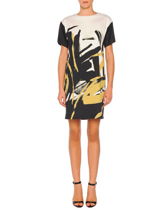 Jewel-Neck Brushstroke-Print Shift Dress, Black Multi